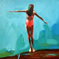 """Summer 2019-6"" oil painting of girl in pink swimsuit and blue/green background"