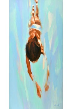 """""""Tethys"""" vertical oil painting of a brunette woman diving in turquoise water"""
