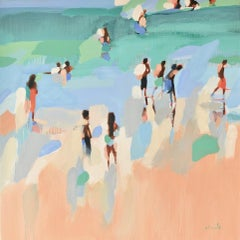 """The Hot Season"" Abstract oil painting of figures on the beach with green water"