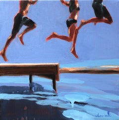 """Three Amigos"" oil painting of kids legs jumping into water with blue background"