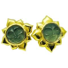 Elizabeth Locke 18 Karat Gold Venetian Glass, Intaglio Man in the Moon Earrings