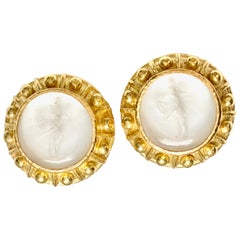 Elizabeth Locke 18 Karat Venetian Intaglio Earrings