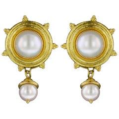 Elizabeth Locke 18 Karat Yellow Gold Mabe Pearl Earrings