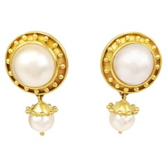 Elizabeth Locke 18 Karat Yellow Gold Pearl Earrings