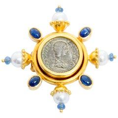 Elizabeth Locke 18 Karat Yellow Gold Sapphire and Pearl Brooch