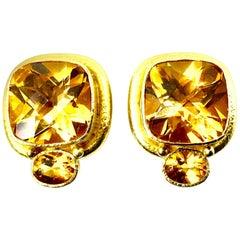 Elizabeth Locke 18K Byzantine Style Hammered Yellow Gold Large Citrine Earrings