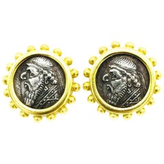Elizabeth Locke 18 Karat Yellow Gold Ancient Coin Earrings
