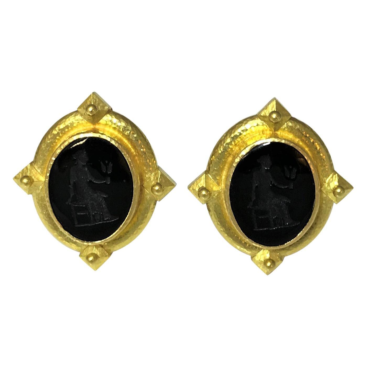 Elizabeth Locke 19 Karat Gold and Black Venetian Glass Intaglio Earrings