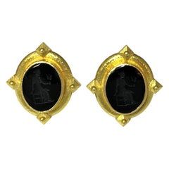 Elizabeth Locke 19 Karat Gold and Black Venetian Glass Intaglio Earrings
