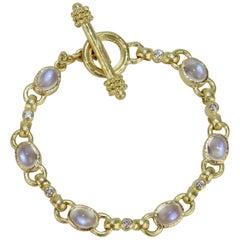 Elizabeth Locke 19 Karat Gold, Moonstone and Diamond Toggle Bracelet