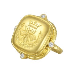 "Elizabeth Locke 19 Karat Yellow Gold and Diamond ""Queen Bee"" Ring"
