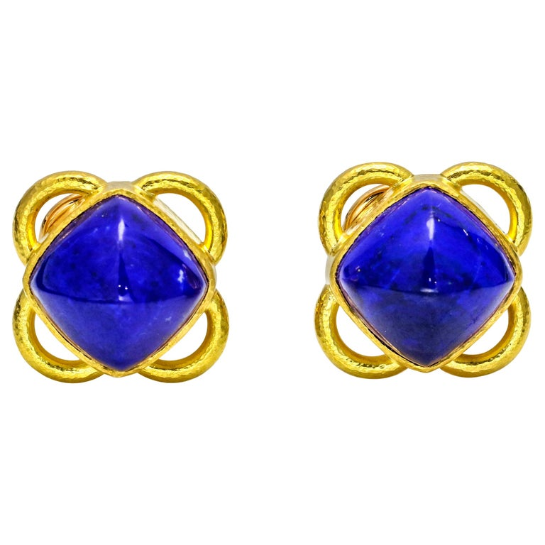 56aba216db281 Elizabeth Locke 19 Karat Yellow Gold Lapis Lazuli Stud Earrings