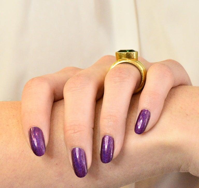 Elizabeth Locke 1980s 4.00 Carat Tourmaline 18 Karat Gold Fashion Ring For Sale 4