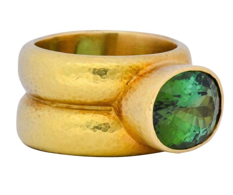 Oval Cut Elizabeth Locke 1980s 4.00 Carat Tourmaline 18 Karat Gold Fashion Ring For Sale
