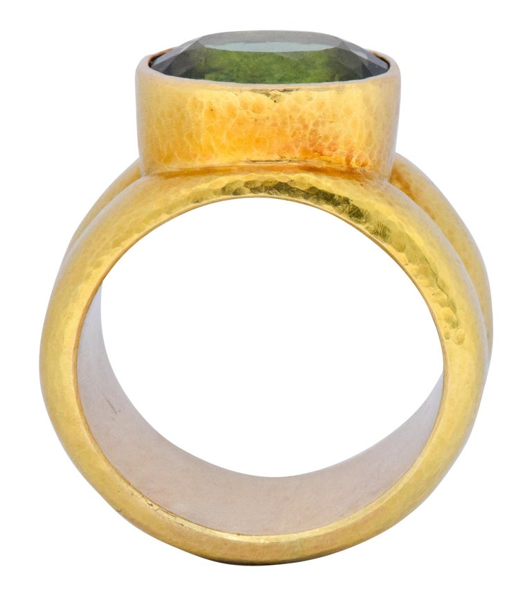 Elizabeth Locke 1980s 4.00 Carat Tourmaline 18 Karat Gold Fashion Ring For Sale 1