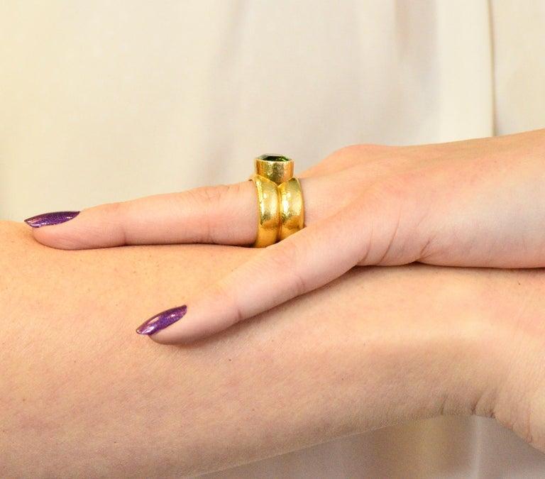 Elizabeth Locke 1980s 4.00 Carat Tourmaline 18 Karat Gold Fashion Ring For Sale 3