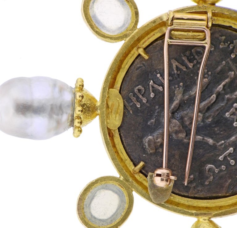 Elizabeth Locke Ancient Coin Pearl Moonstone Diamond Gold Large Brooch In Excellent Condition For Sale In Lahaska, PA
