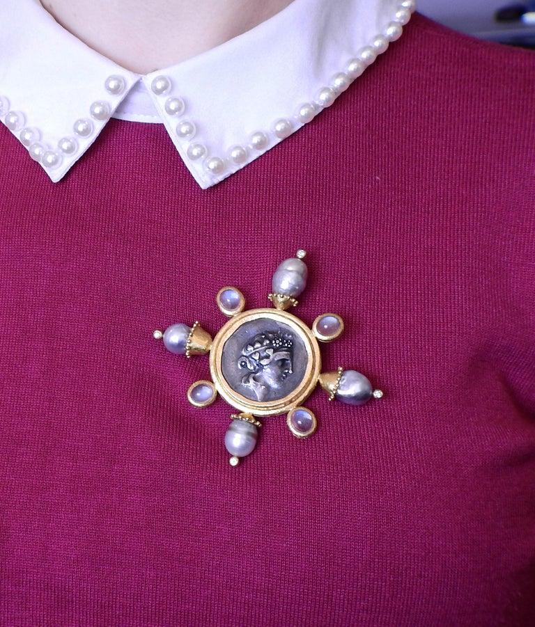 Women's or Men's Elizabeth Locke Ancient Coin Pearl Moonstone Diamond Gold Large Brooch For Sale