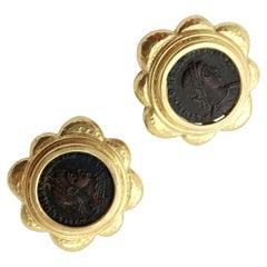 Elizabeth Locke Ancient Coin Yellow Gold Earrings