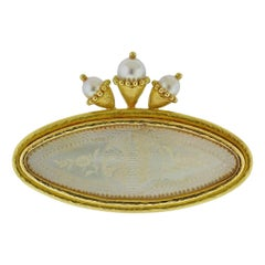 Elizabeth Locke Antique Chinese Mother of Pearl Gambling Counter Brooch
