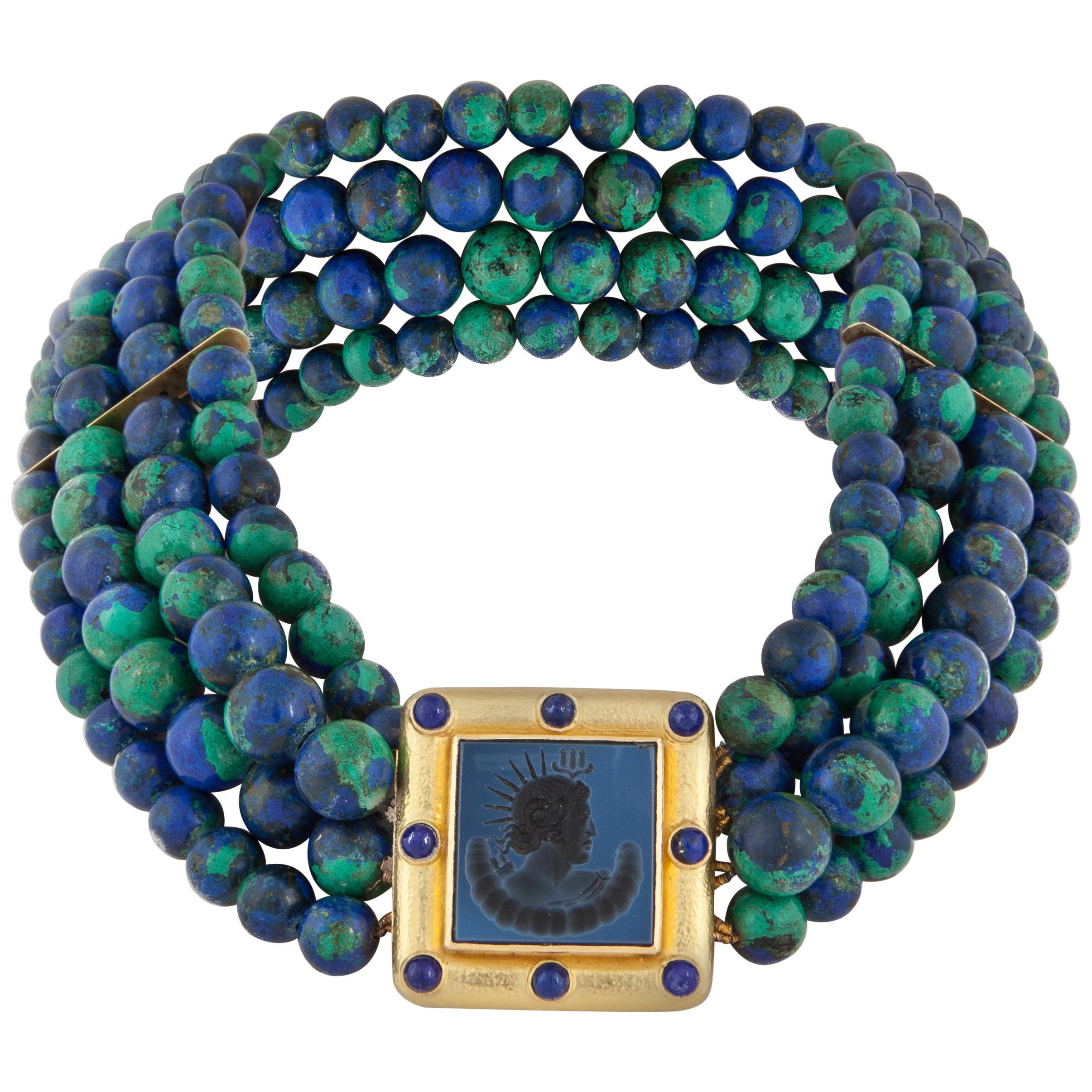 Elizabeth Locke Multi-Strand Azurmalachite Bead Necklace