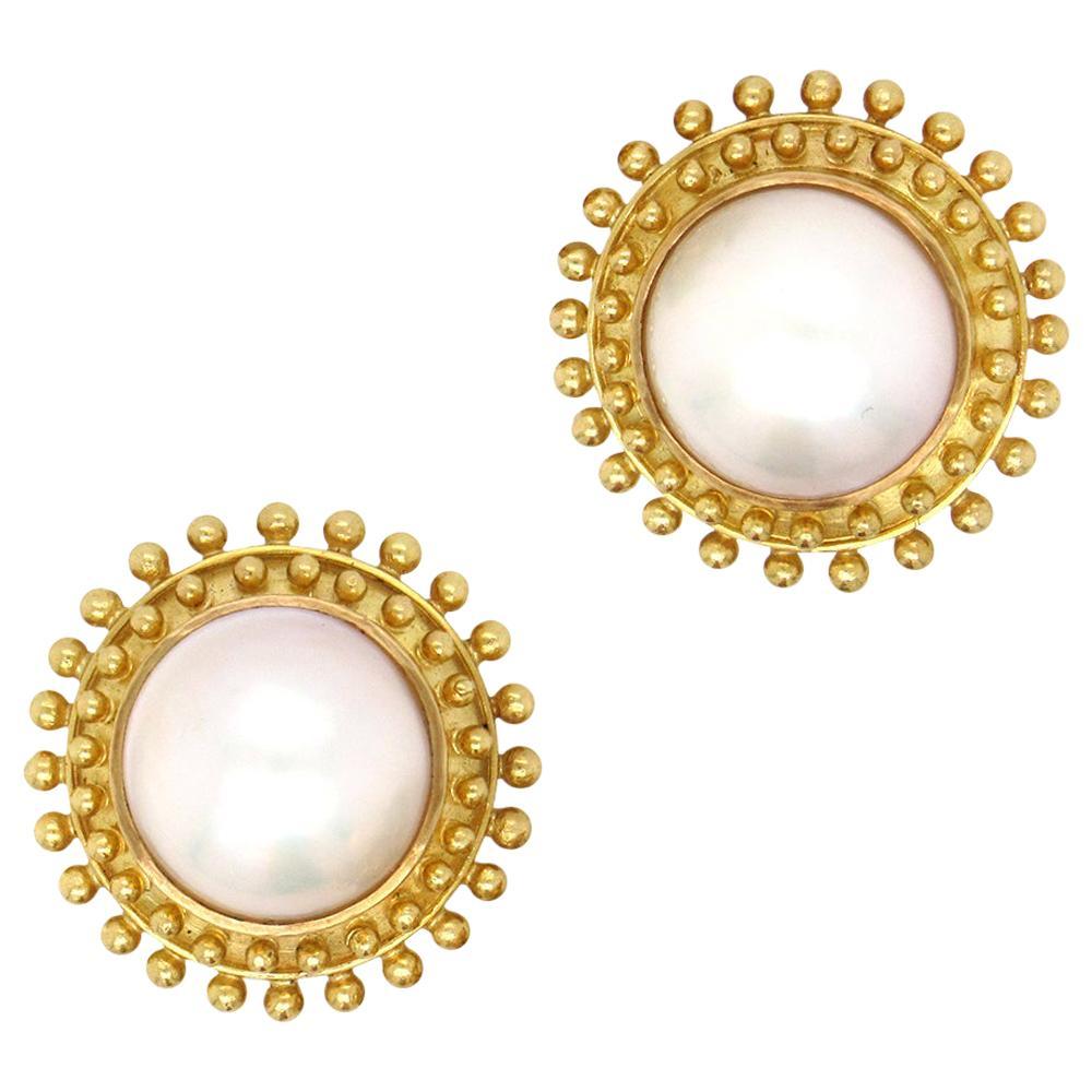 Elizabeth Locke Blister Pearl Earrings