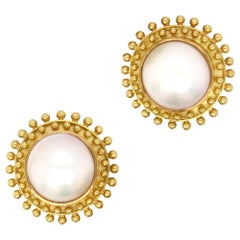 Elizabeth Locke Blister Pearl Earrings