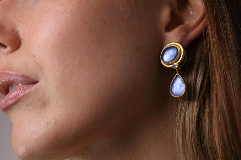 Elizabeth Locke Blue Venetian Glass Intaglio Earrings For Sale 6