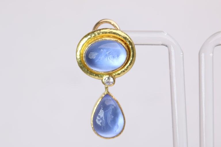 Modern Elizabeth Locke Blue Venetian Glass Intaglio Earrings For Sale