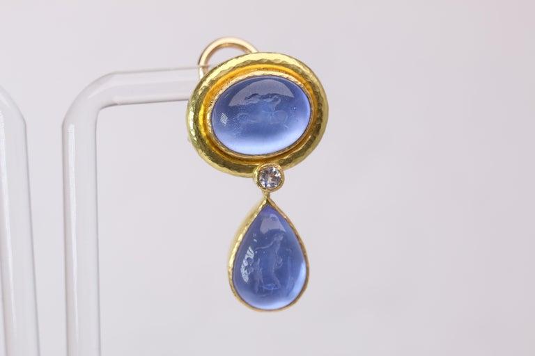 Elizabeth Locke Blue Venetian Glass Intaglio Earrings In Good Condition For Sale In Dallas, TX
