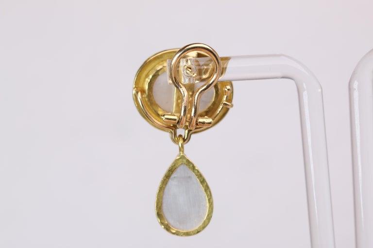 Women's or Men's Elizabeth Locke Blue Venetian Glass Intaglio Earrings For Sale