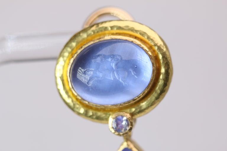 Elizabeth Locke Blue Venetian Glass Intaglio Earrings For Sale 1