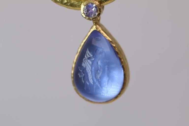 Elizabeth Locke Blue Venetian Glass Intaglio Earrings For Sale 3