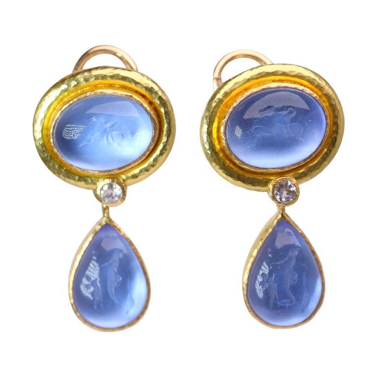 Elizabeth Locke Blue Venetian Glass Intaglio Earrings For Sale
