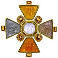 Elizabeth Locke Bomarzo Large Citrine Gold Maltese Cross Brooch Pendant