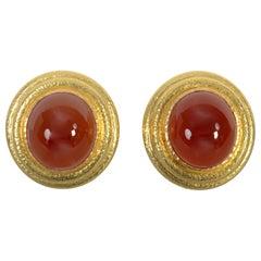 Elizabeth Locke Carnelian Gold Earrings