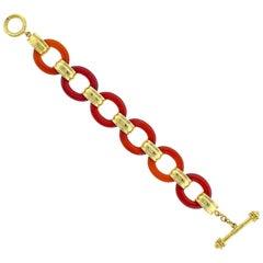 Elizabeth Locke Carnelian Gold Toggle Bracelet