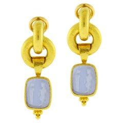 """Elizabeth Locke Cerulean Venetian Glass Intaglio """"God and Pillar"""" Earrings"""