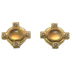 Elizabeth Locke Citrine Diamond Earrings