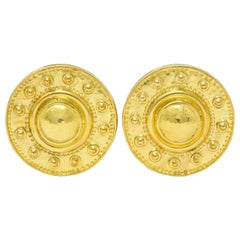 Elizabeth Locke Contemporary 18 Karat Yellow Gold Daisy Earrings