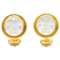 Elizabeth Locke Crystal Mother-Of-Pearl 18 Karat Gold Man-In-The-Moon Cufflinks