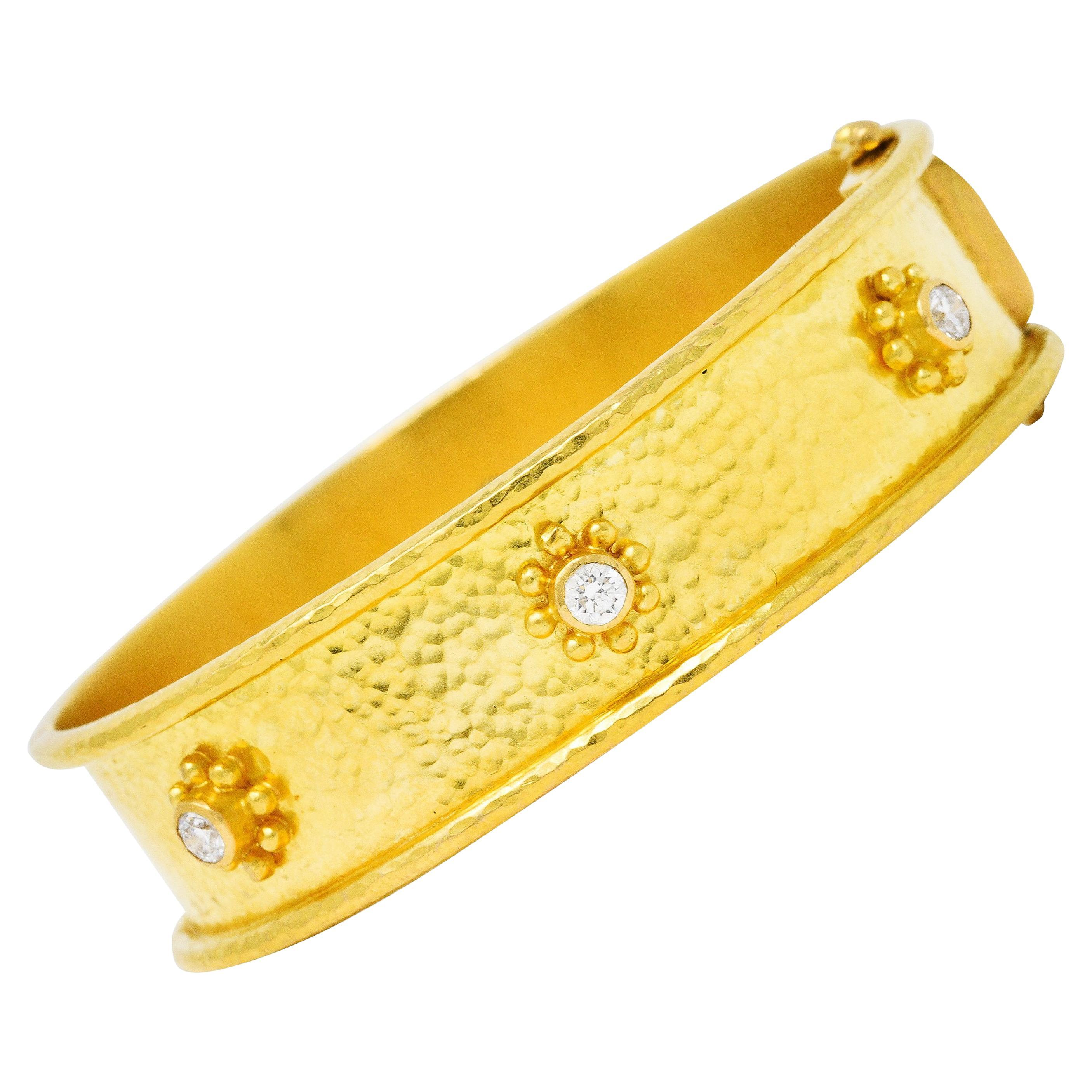 Elizabeth Locke Diamond 19 Karat Yellow Gold Diamond Daisy Bangle Bracelet