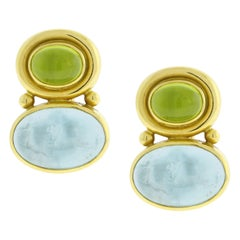 Elizabeth Locke Earrings with Peridot and Aqua Venetian Glass