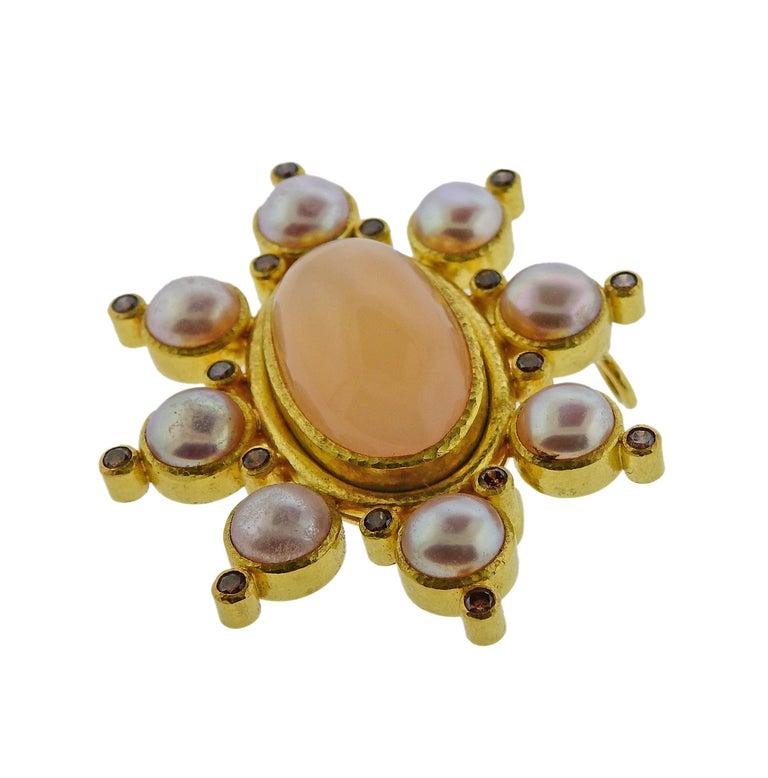 Elizabeth Locke Fancy Diamond Peach Moonstone Pearl Gold Brooch Pendant In Excellent Condition For Sale In Lahaska, PA