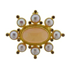 Elizabeth Locke Fancy Diamond Peach Moonstone Pearl Gold Brooch Pendant