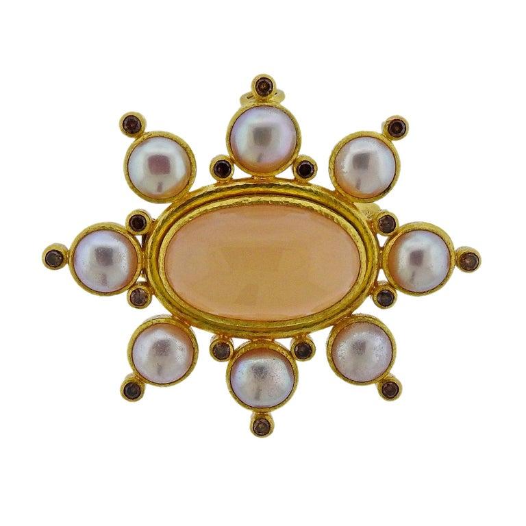 Elizabeth Locke Fancy Diamond Peach Moonstone Pearl Gold Brooch Pendant For Sale
