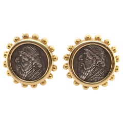 Elizabeth Locke Gold and Ancient Silver Coin Earrings