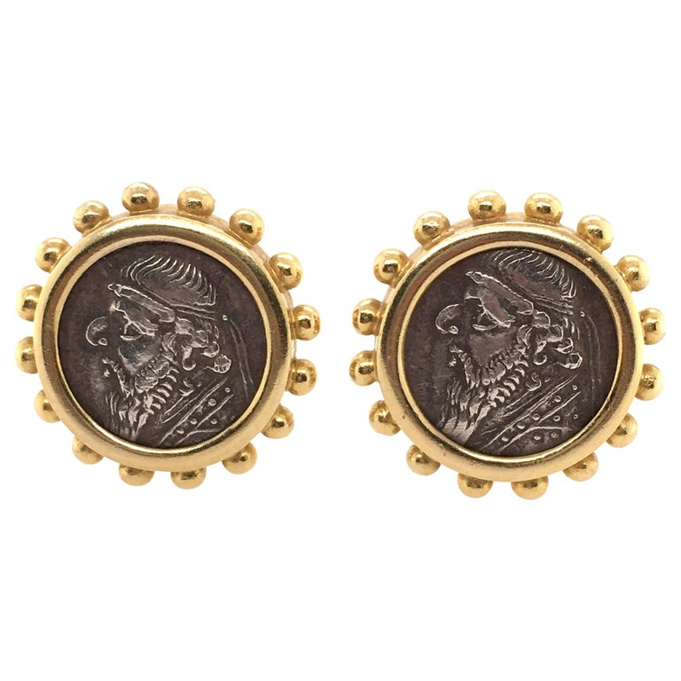 Elizabeth Locke Gold and Ancient Silver Coin Earrings For Sale