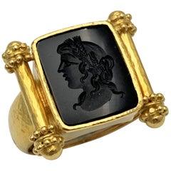 Elizabeth Locke Gold and Carved Onyx Ring