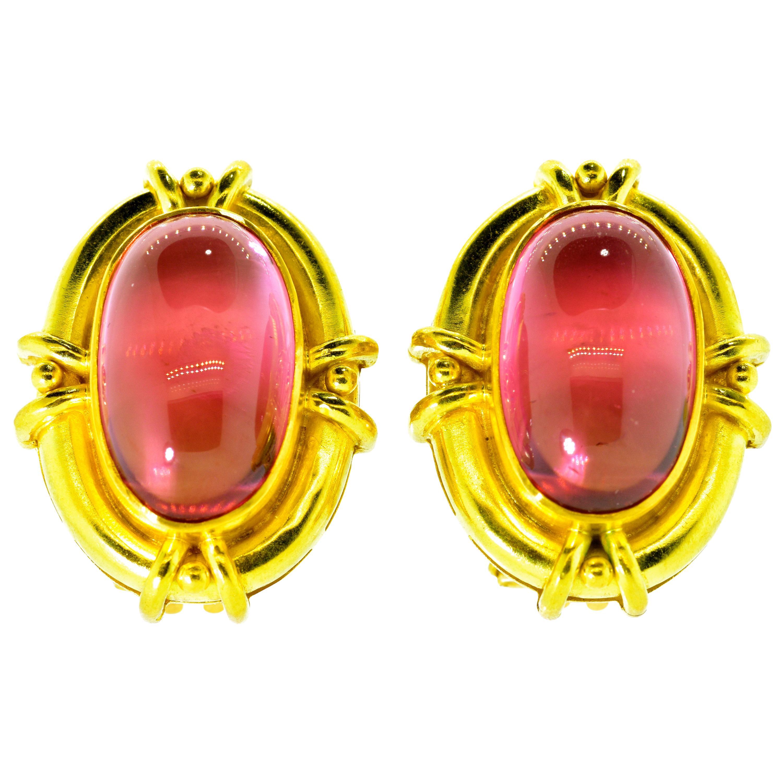 Elizabeth Locke Gold and Tourmaline Earrings